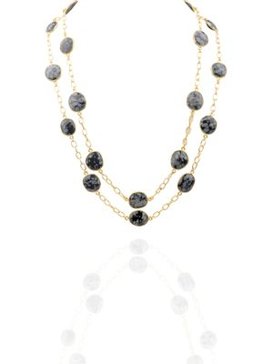 Gold Plated Snowflake Obsidian Detachable Necklace