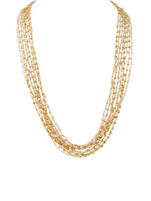 Multiple Strings Pearl and Gold Necklace