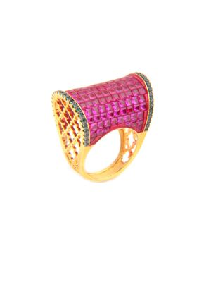 Gold Plated Red And Green Regal Ring