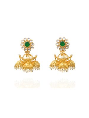 Gold Plated Green Canopy Earrings