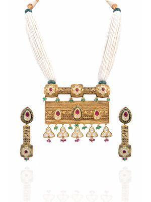 Gold Plated Rajwadi Necklace Set
