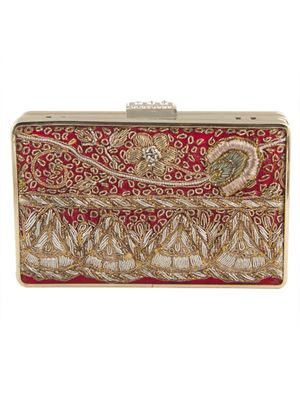 Red Gold beige antique clutch