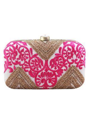 Geo ethnic pink clutch