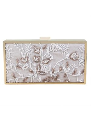 Snow white beaded clutch