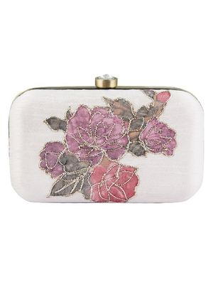 Applique floral clutch