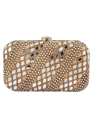 Gold mirror work clutch bag