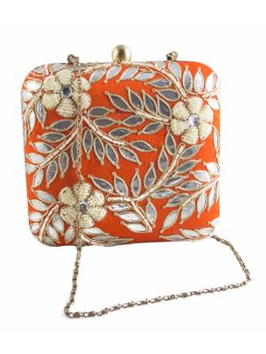 Orange Gotapatti clutch