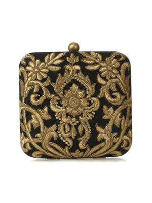Black baroque clutch