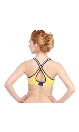 Glus Sports Racer Back Seamless Bra , Color- Yellow