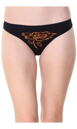 Glus Women's Seamless Floret Thong, Color- Black