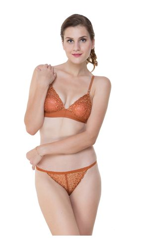 Glus Bridal Net  Unlined Non Padded Non Wire Bra & String Bikini Panty Set, Color - Rust Brown