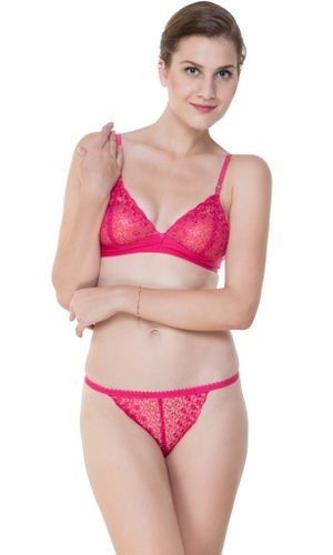 Glus Bridal Net  Unlined Non Padded Non Wire Bra & String Bikini Panty Set, Color - Magentta