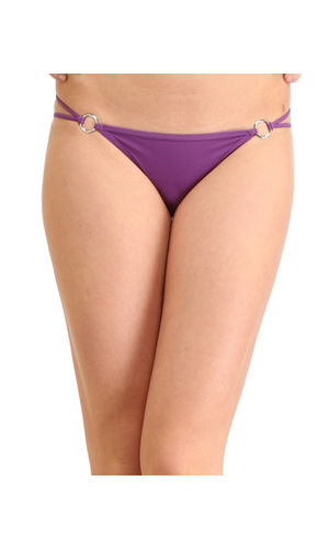 Solid Silver  Buckle  Thong , Color- Purple