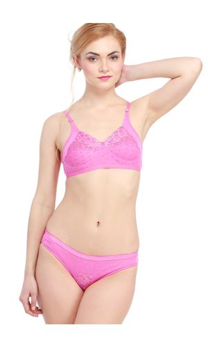 Glus Lady Care Bra And Bikini Set , Color- Pink