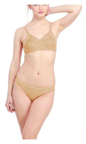 Glus Lady Care Bra And Bikini Set , Color- Nude