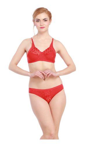 Glus Lady Care Bra And Bikini Set , Color- Red