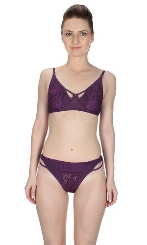 Glus Charming Lady Non wire / Non Padded Bra & Bikini Cut Panty ,  Color - Purple