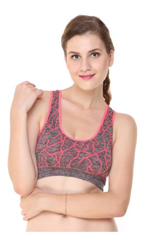 Glus Zig Zag Pattern Incredible Sports Bra (with Sweating Absorbing Fabric), Color-Peach