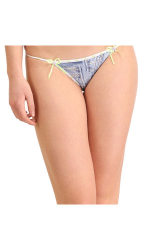 Micro Denim Dash Thong , Color- Green