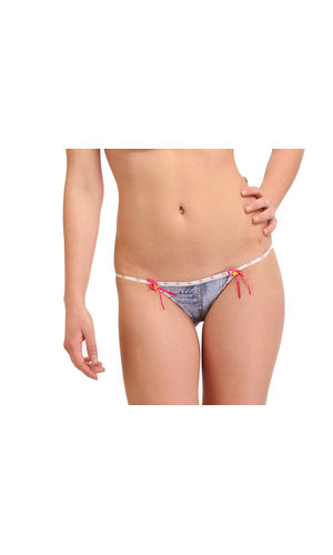 Micro Denim Dash Thong , Color- Magentta