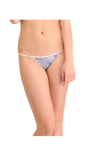 Micro Denim Dash Thong , Color- Orange