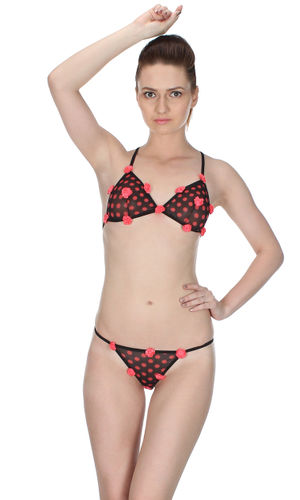 Polka Roses  Halter & Ultra Micro G-String set , Color-Peach