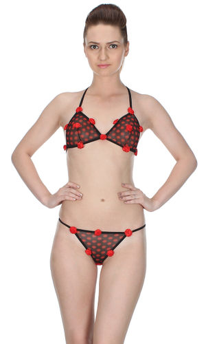 Polka Roses  Halter & Ultra Micro G-String set , Color-Red
