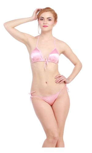 Glus Satin Halter Bikini Honeymoon /Bridal /Beach Wear /Sleepwear Lingerie Set , Color-Baby Pink