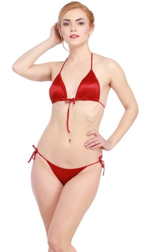 Glus Satin Halter Bikini Honeymoon /Bridal /Beach Wear /Sleepwear Lingerie Set , Color- Maroon