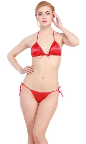 Glus Satin Halter Bikini Honeymoon /Bridal /Beach Wear /Sleepwear Lingerie Set , Color- Red