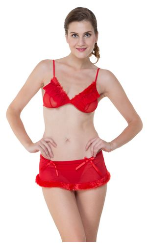 Glus Hot Sexy Bridal Honeymoon Lingerie Set Bra And Micro Mini Skirt With G- String, Color-Red