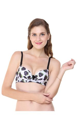 Glus Black Roses Push Up Underwire Seamless T- Shirt Bra.