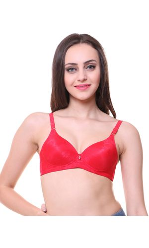 Glus POMPON Double Pushup Non Wire Seamless T-shirt Bra, Color- Red