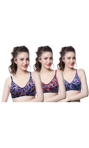 Glus Combo Full Cup Everyday Wire Free Bra , PACK OF 3