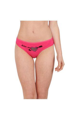 Glus KISS ME Tanga Panty for Women, Color - Pink.