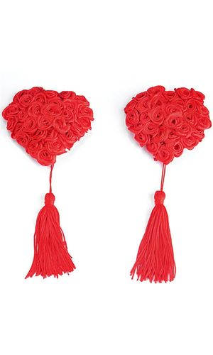 SEXY Heart Nipple Pasties / Nipple Covers , Color- Red
