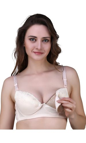 Glus Anti-Bacterial ORGANIC COTTON Front Open Flap BUTTONED Nursing / Feeding Flap WIRED Padded Maternity Bra