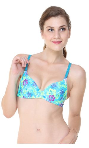Laser Cut Seamless  Turquoise Underwire T-Shirt Bra