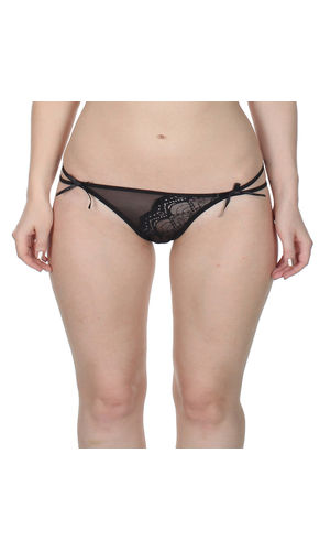 Black Dual String Crescent Thong