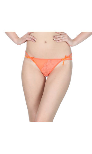 Orange  Dual String Crescent Thong