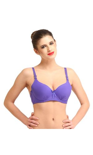 Glus Women's Sweet Heart Padded Underwire Bra , Color - Blue