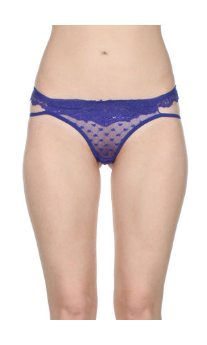 Self Floral See through Net thong , Color- Blue