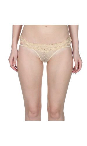 Self Floral See through Net thong , Color- Nude