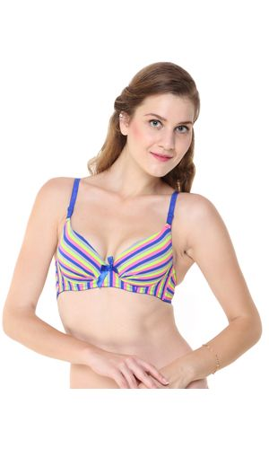 Glus Blue Neon Striped Push Up Underwire Bra, Color- Blue