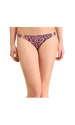 Cheetah Print Golden Buckle  Thong , Color- Pink