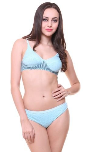 Glus Twin Polka Dotted Everyday Bra & Panty Set, Color- Turquoise.