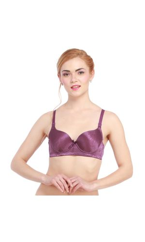 Glus Minimiser Full Cup Underwire Seamless Bra, Color- Purple