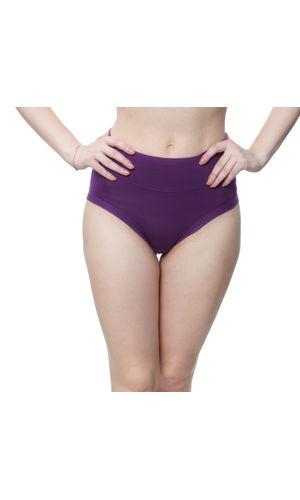 Glus High waist Plus Size Bikini Cut Stainless Panty, Color- Purple