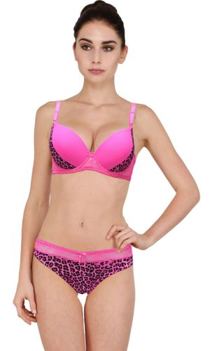 WILD Pattern Push Up Underwired Bra & Bikini Cut Panty set, Color-  PINK..