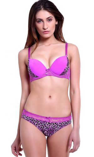 WILD Pattern Push Up Underwired Bra & Bikini Cut Panty set, Color-  PURPLE.